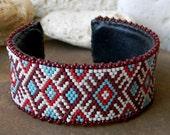 Cuff bracelet, beaded cuff, peyote cuff, rigid bracelet, beadwoven cuff, beadwork jewelry, ethnic cuff bracelet, seed bead jewelry boho cuff