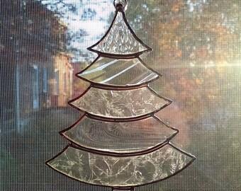 Stained Glass Christmas Tree Suncatcher, Clear Glass, Christmas Tree Ornament, Holiday Decor, Christmas Gift, Stocking Stuffer, Window Decor