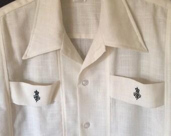Vintage DaVinci Shirt - Retro Hipster, Embroidered, Tab Detail - Men's Medium