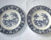 """2 Homer Laughlin SHAKESPEARE COUNTRY """"Stratwood Collection"""" 10.25"""" Dinner Plates (ca. 1950s)"""