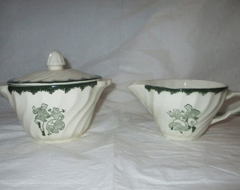 Royal China COUNTRYSIDE Spring Sugar Bowl with Lid & Creamer, Swirled Green Trim (c. 1950s)
