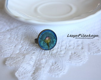 Round ring with a dog rose bud, vintage ring
