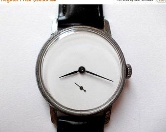 "SALE - Soviet watch ,Russian watch ,minimal watch , minimalist watch, Mens watch, white watch ,classic watch, USSR watch ""Pobeda"""