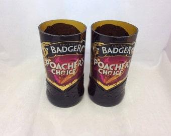 Badger Poachers Choice Beer Glasses (Recycled Bottles) Set of 2
