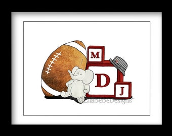 8 x 10 Football and Elephant with blocks Print /Personalize with Initials / Alabama /Nursery Decor / Dorm Decor /Houndstooth /Baby shower