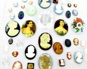 Cameo Cabochons 40 Jewelry Making Vintage Supplies large oval glass resin plastic flat back intaglio