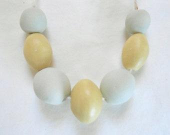 Smooth Peaceful Pebble Beads Ceramic Bead Set Handmade