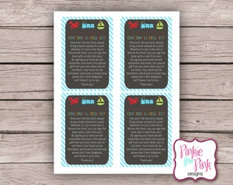 INSTANT Download Baby Boy Shower Bring a Book Insert Cards- Planes, Trains, Trucks and Toys Digital File Download