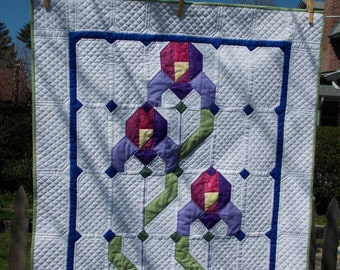 Wall Quilt with Irises