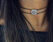 Double black cord choker with cz pendent