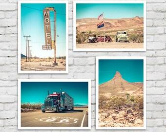 Bathroom Art, Route 66 decor Motel Garage decor California art route 66 sign arizona photography/large art/kids room art/boy room decor