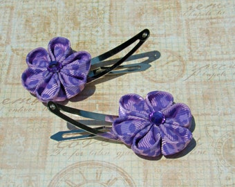 Purple Leopard Printed Kanzashi Flower Snap Clips