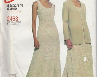 McCall's 2463 Size 16-18-20-22 Bust 38-40-42-44 Misses' Dress and Unlined Jacket Sewing Pattern 1999 Uncut