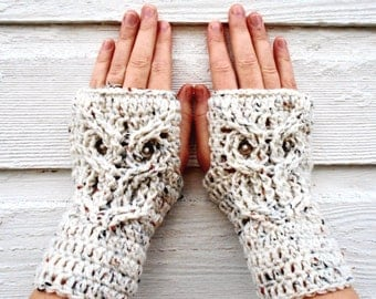 Owl Fingerless Mitts, Fingerless Gloves, Owl Mitts, Owl Gloves, Ready to Ship, Owl Texting Gloves, Wrist Warmers, Animal Gloves, Fingerless