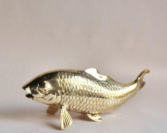 Large Vintage Brass Koi Fish Figurine