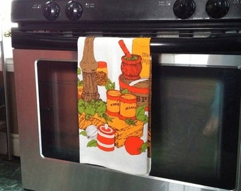 Groovy 70's Vintage Tea Towel in Oranges, Golds, Green on White