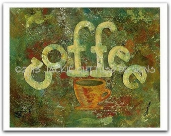 "Coffee art, Archival print, 8 x 10"", Coffee cup kitchen art, Coffee collage, Dining room art, Print of acrylic painting, Coffee typography"