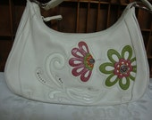 Brighton White Leather Hobo Purse with Pink and Green Flowers
