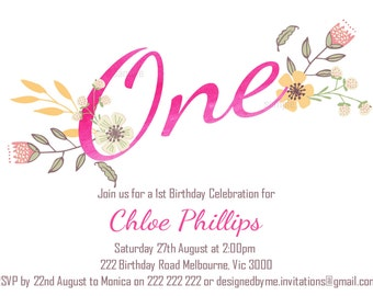 Floral / Watercolour 1st Birthday / Milestone Birthday Invitation - Digital file for DIY Printing - JPEG File