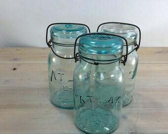 Vintage Blue Atlas Mason Quart Jars and Pint Jar, Canning jar