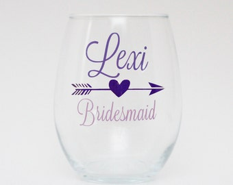 Bridesmaid Stemless wine glass: personalized