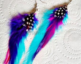 Blue/Purple/Hot-pink Feather Drop Earrings