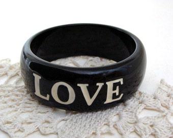 1980s Black & White LOVE Bangle Bracelet