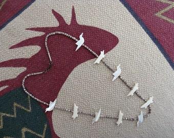 Vintage Southwestern Style Heishi Necklace Fetish Birds & Coyotes