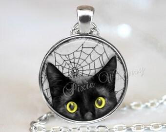 BLACK CAT Pendant Necklace or Keychain, Halloween Jewelry, Spider Web Spiderweb Gothic Jewelry