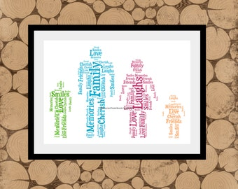 Family Word Art, Personalised Family Print, Family Word Cloud, Gift For Family, New Home Gift, Family Word Collage, Family Wordle.