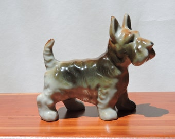 Vintage Scottish Terrier Brown and Tan China Dog Figurine