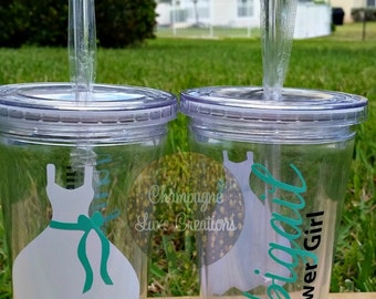 Flower Girl Tumblers (Set of 2 )-- Personalized Tumbler, Wedding Party Gift, Bridal Party Gift, Flower Girl Gift, Acrylic Tumbler