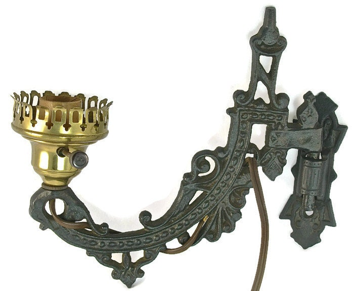 Antique Cast Iron WALL SCONCE LAMP Electric Swing Arm Black
