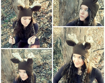 Deer Hat Crochet Pattern with Antlers / Instant Download PDF