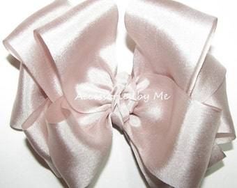 Blush Hair Bow Pure 100% Silk Ribbon Girls Baby Toddler Accessories Clip Barrette Recital Pageant Wedding Birthday Party Princess Occasion