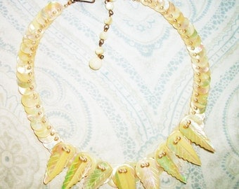 Vintage Mother of Pearl Feather Bead Necklace