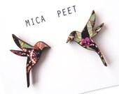Hummingbird Earrings -  Wooden Bird Earrings Bird Jewellery Bird Studs Laser Cut Birds, Gifts for Women, Gifts for Mums, Stocking Fillers