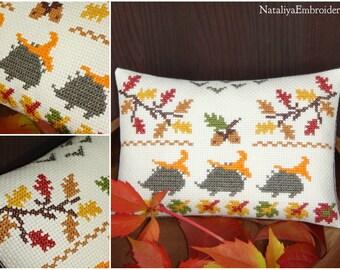 PDF primitive cross stitch sampler pattern: Autumn - Hedgehogs and Chanterelles