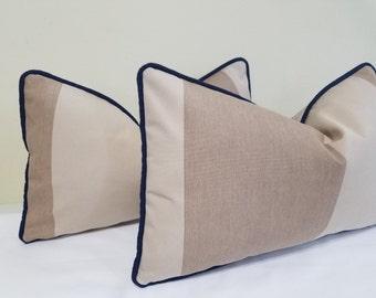 Sunbrella Awning Manhattan Dune Outdoor Lumbar pillow Cover- Striped Outdoor Cushion - Sunbrella Lumbar Pillow - 12 x 20