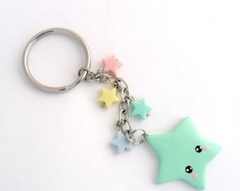 ON SALE Kawaii Shooting Star Keychain, Lolita, Fairy Kei, Cute :)