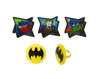 Batman (Pow) Cupcake Topper Party Favor Rings - Baking and Cake Decorating