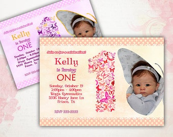 Butterflies Birthday Party Invitation Printable - with PHOTO - different colors