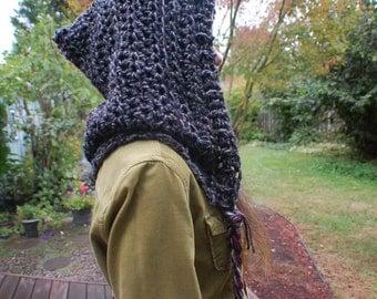 Grey and Black Crochet Elf Hood