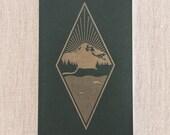 West Coast Best Coast Diamond- Letterpress Notebook Handmade in Seattle