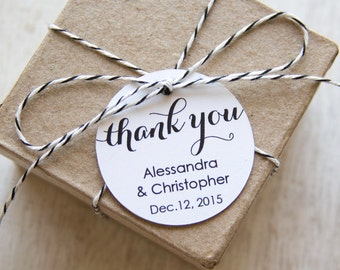 Thank You Tag - 1.5 Inch Circle - Wedding Favor Tags - Shower - Baptism - Christening - Custom Tags -36 Pieces