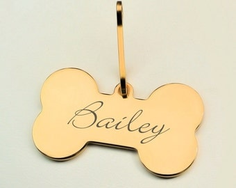 Personalized Gold Bone Pet Tag Engraved FREE for dogs