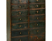 American Primitive Scrubbed Blue Painted Dovetailed Apothecary Cabinet Chest of Drawers, 19th Century, Distressed, 601HJY16P