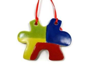 Autism Puzzle Piece Ornament, Autism Teacher Gift, Autism Awareness, Puzzle Piece Gift,Autistic Awareness,Autism Support, Christmas Ornament