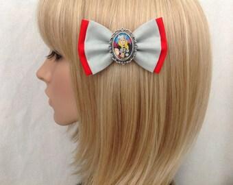 Thor hair bow clip rockabilly psychobilly pin up punk geek comic cameo red girls marvel avengers super hero hulk