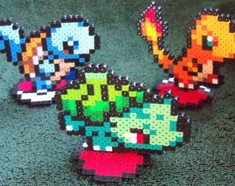 Pokemon Figures Charmander / Squirtle / Bulbasaur Perler / Hama Art Decor with Pokeball Base